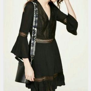 REBECCA MINKOFF Black Peasant Tunic Dress